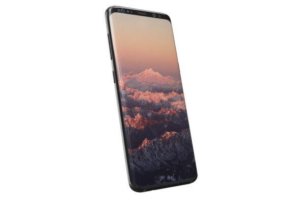 Σύγχρονο κινητό με φόντο βουνά